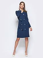 📐Деловое платье-пиджак с карманами-обманками (синее, с поясом, миди) / Размер 44,46,48 /  P12A7B1 - 42234