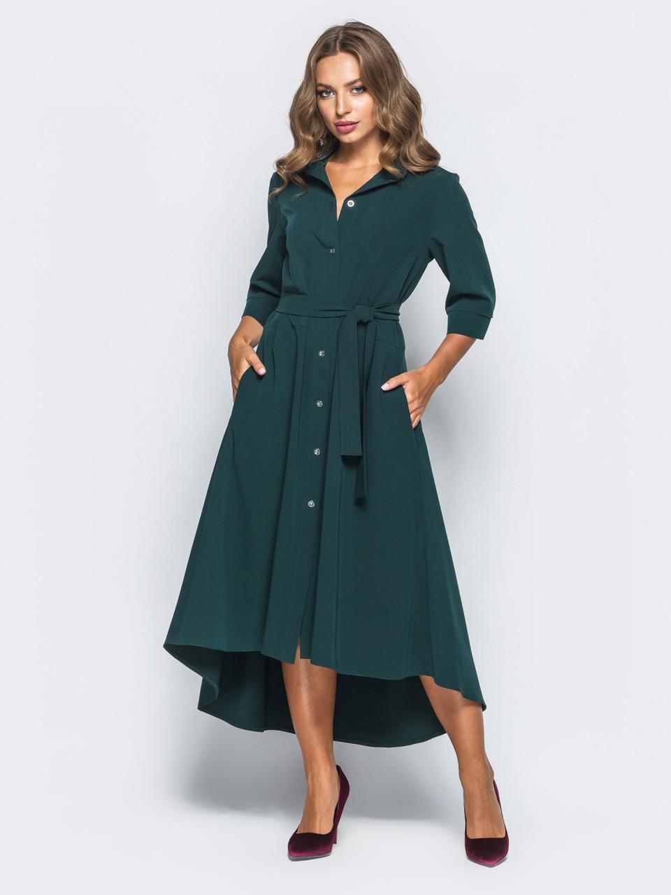 7dcd6edd287 👶Зеленое платье-рубашка с поясом   Размер 42-44