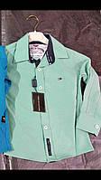 Рубашка на мальчика 1-4 лет голубого, мятного цвета с длинным рукавом оптом