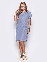 📐Стильное платье-рубашка с короткими рукавами, удлинением по спинке (голубое) / 44,46,48 /  P12A7B1 - 15541