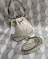 Женская сумка мешок копия Валентино Valentino качественная эко-кожа цвет молочный, фото 1