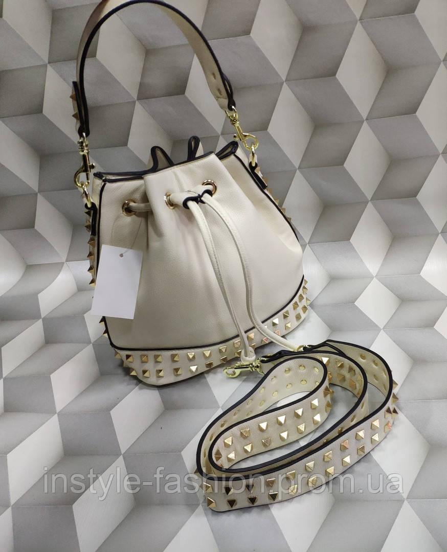 Женская сумка мешок копия Валентино Valentino качественная эко-кожа цвет молочный