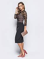 📐Комбинированное платье-футляр с верхом из гипюра (черное, рукав 3/4) / Размер 44,46,48,50 /  P12A7B1 - 43231