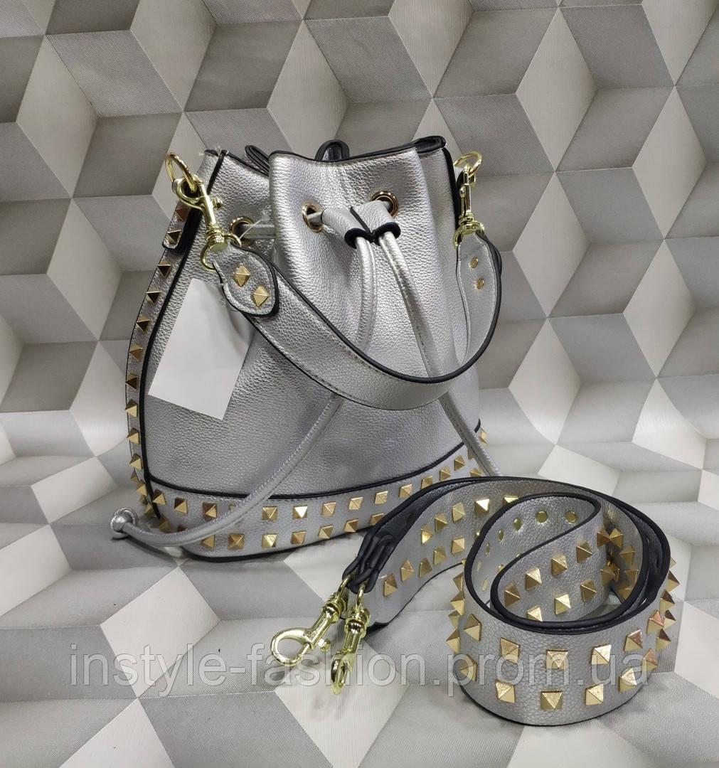 024eea377746 Женская сумка мешок копия Валентино Valentino качественная эко-кожа цвет  серебрянный