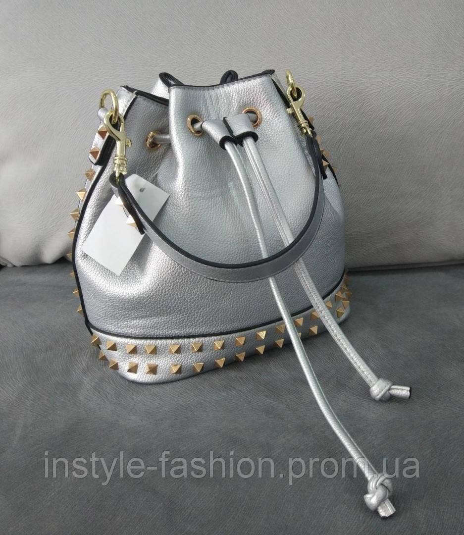 d10be95060e2 Женская сумка мешок копия Валентино Valentino качественная эко-кожа цвет  серебрянный, ...