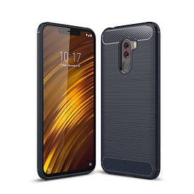 Чехол Carbon для Xiaomi Pocophone F1 бампер Blue