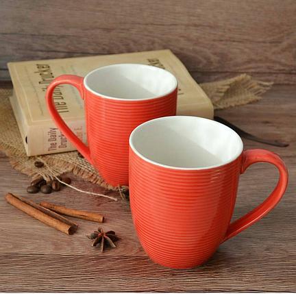"""Набор чашек 2 ед """"red & white"""" 300 мл красные керамические чашки комплект чашка красная, фото 2"""