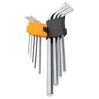 Набор удлиненных Г-образных шестигранных ключей Tolsen 9 шт 1.5-10 мм Cr-V (20049), фото 1