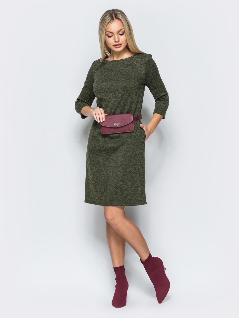 f0bbe0b08d4 🌙Трикотажное платье цвета хаки с рукавом 3 4 (свободное