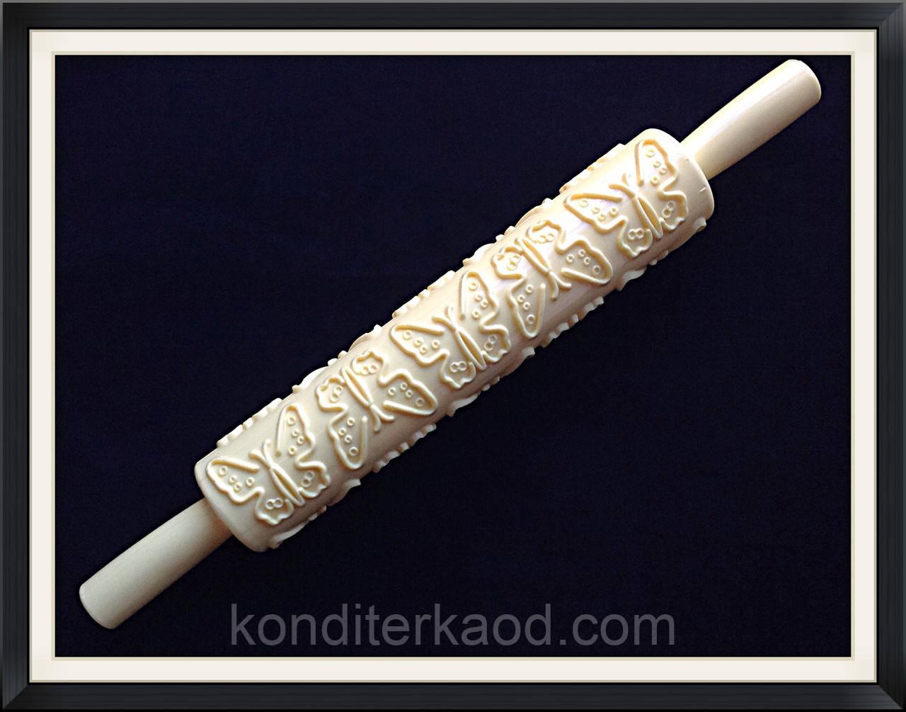 Скалка текстурная с ручками Бабочки средние