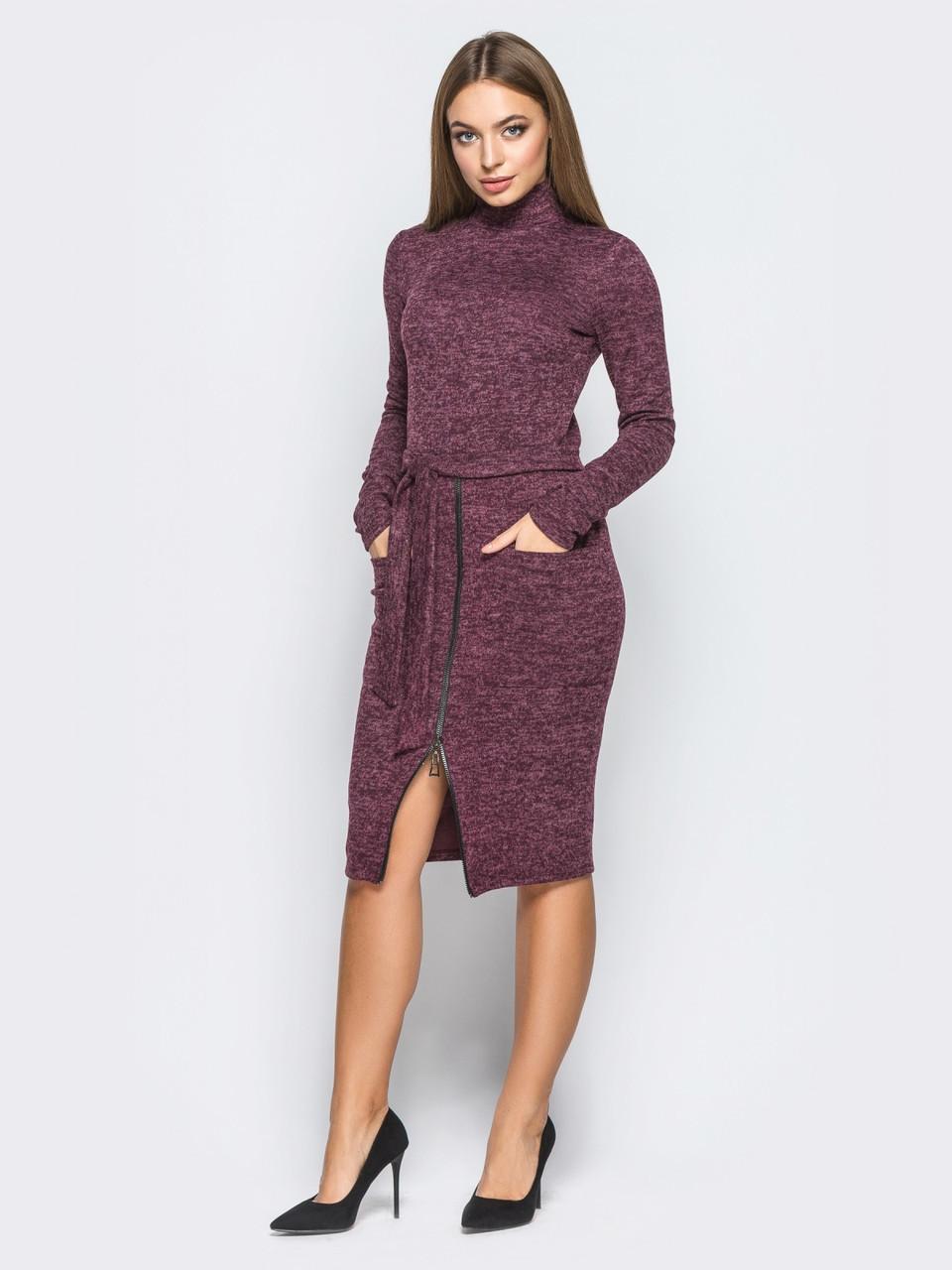 08cdc6b5cf9 👶Облегающее платье с накладными карманами и поясом (фиолетовое)   44
