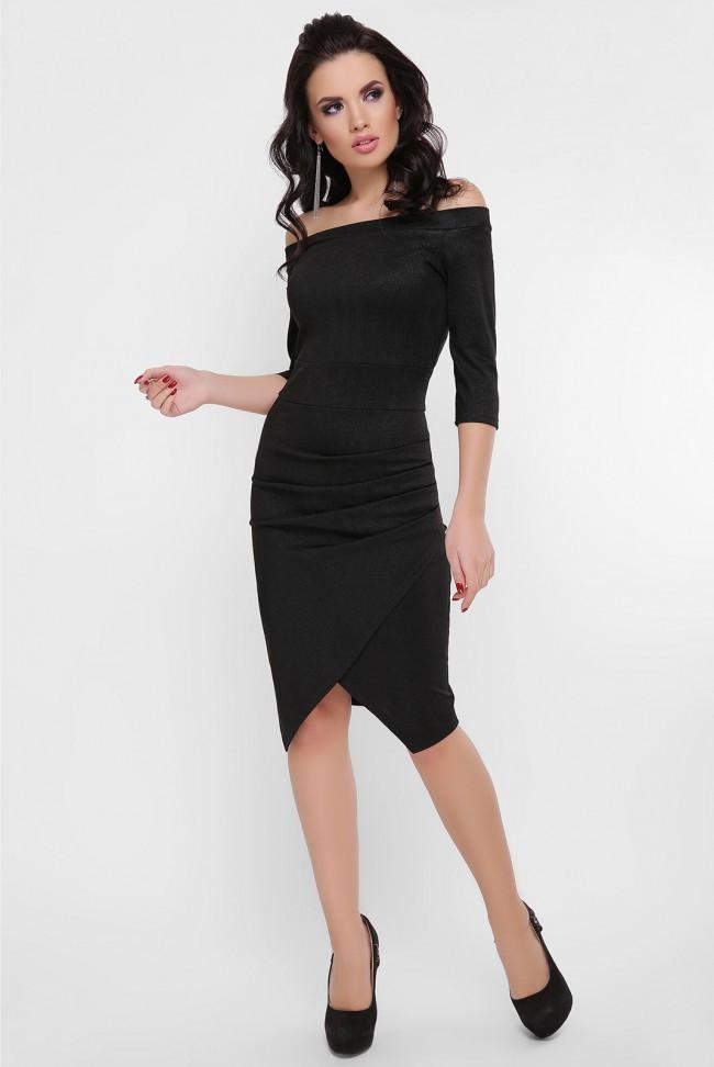 """Ошатне плаття по фігурі з драпіруванням на запах відкриті плечі """"Lillian"""" чорне"""