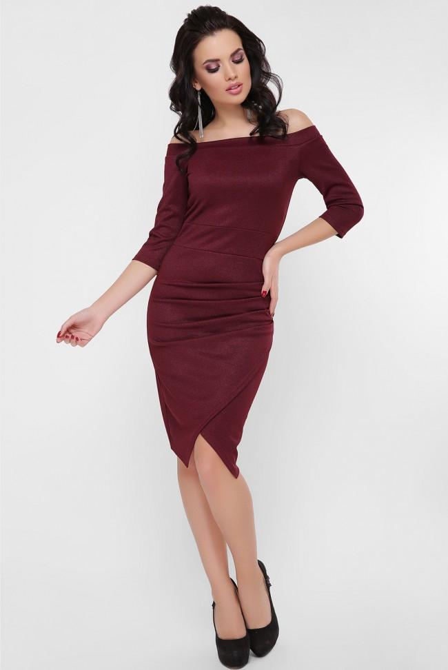 """Вечернее облегающее платье с открытыми плечами и драпировкой """"Lillian"""" марсала"""