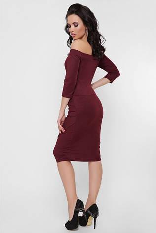 """Вечернее облегающее платье с открытыми плечами и драпировкой """"Lillian"""" марсала, фото 2"""
