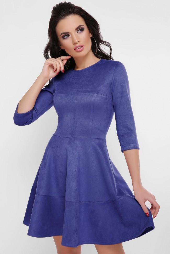 """Красивое замшевое однотонное платье на талию с пышной юбкой рукав 3/4 """"Margaret"""" электрик"""