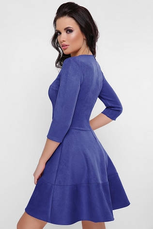 """Красивое замшевое однотонное платье на талию с пышной юбкой рукав 3/4 """"Margaret"""" электрик, фото 2"""