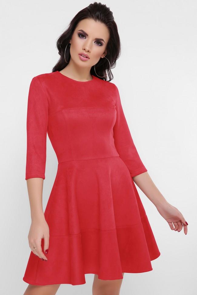 """Нарядное короткое платье под замшу с пышной отрезной юбкой рукав три четверти """"Margaret"""" красное"""