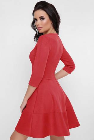 """Нарядное короткое платье под замшу с пышной отрезной юбкой рукав три четверти """"Margaret"""" красное, фото 2"""