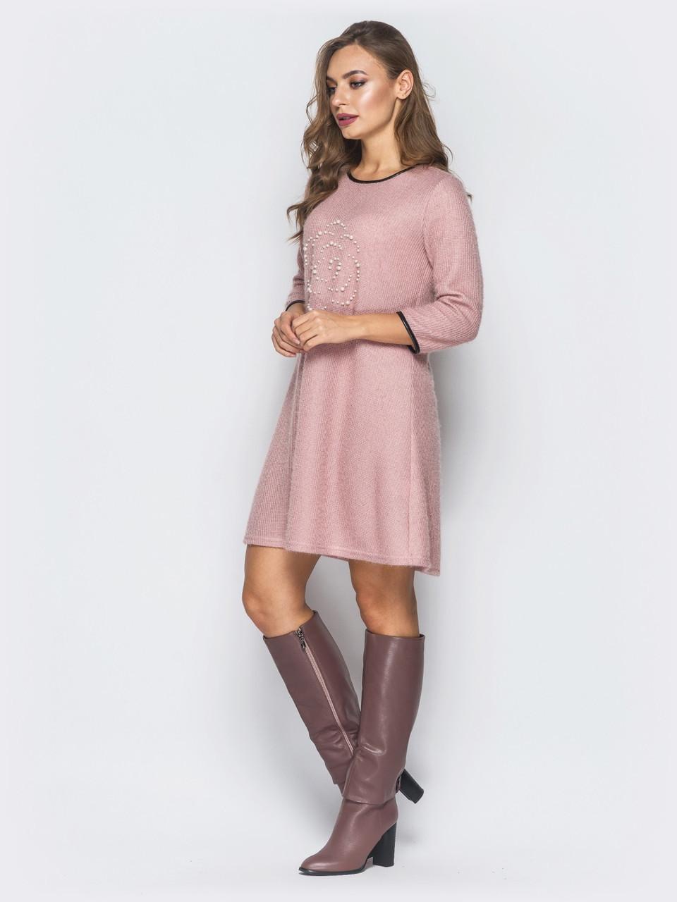 dba25be9149 👶Трикотажное розовое платье с обтачкой из эко-кожи (платье-трапеция ...