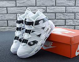 Мужские высокие кроссовки Nike Air More Uptempo черно-белые