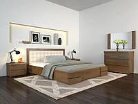 Деревянная кровать из массива дерева- Регина Люкс, с мягким изголовьем. 1,2*2