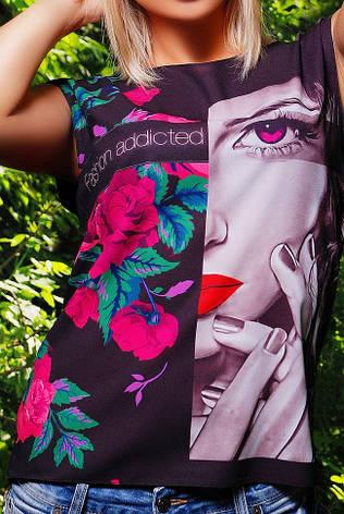 """Стильная женская футболка прямого силуэта """"Classic"""" черная, фото 2"""