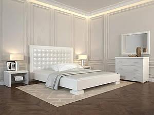 Деревянная кровать из массива дерева- Подиум, с мягким изголовьем. 1,6*2