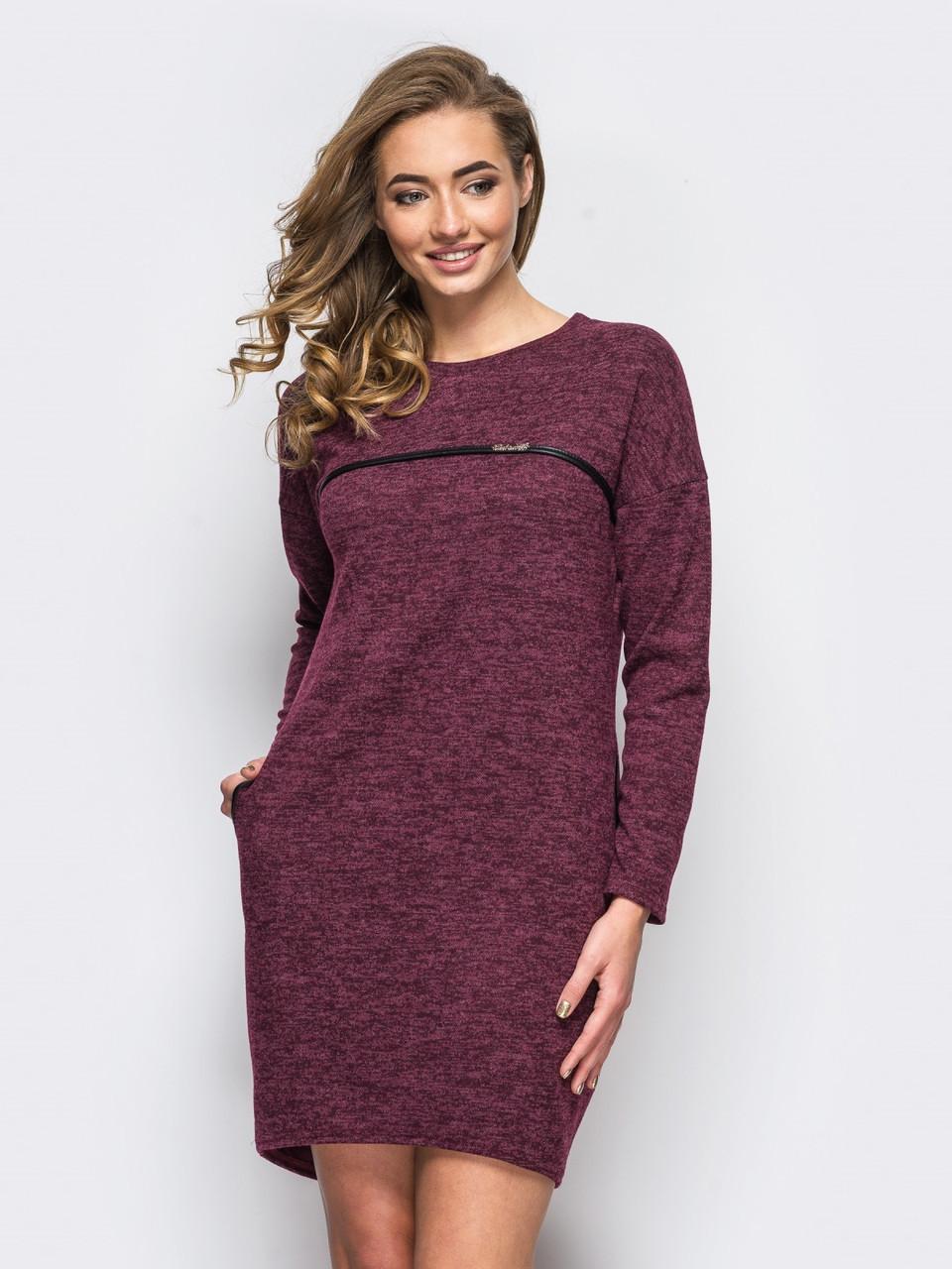 f2869ad0332 👶Трикотажное бордовое платье с карманами (свободное