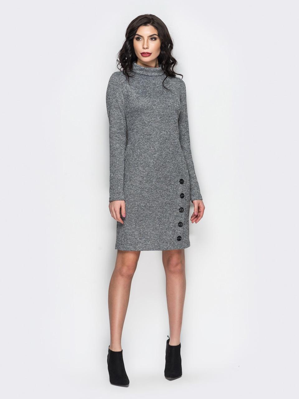 69f17730510 👶Трикотажное платье под горло с люрексовой нитью (серое)   44