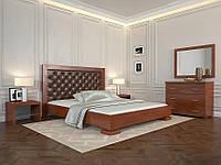 Деревянная кровать из массива дерева- Монако, с мягким изголовьем. 1,2*2