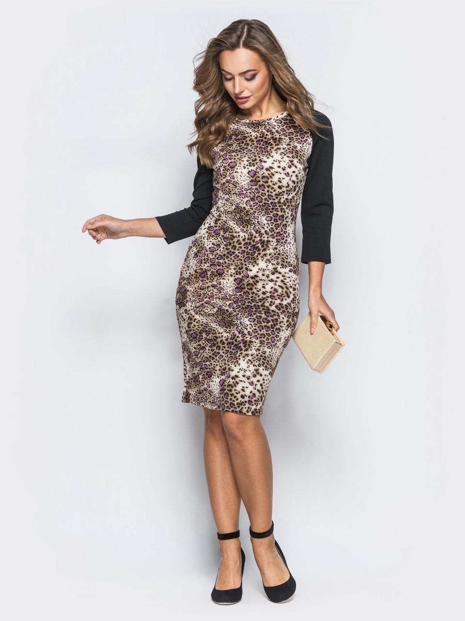 a3d59cb2015 👶Трикотажное платье с леопардовым принтом (коричневое)   42