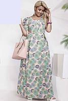 Длинное платье с принтом, 48-58 размер