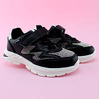 Детские  черные кроссовки типу skechers девочке стразы Томм размер 32,33,34,35,36