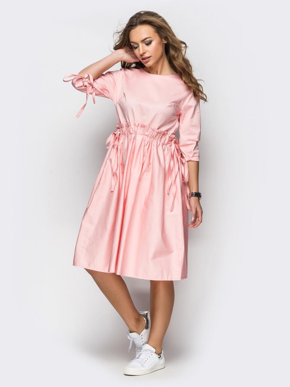 e201dc2ae48 💍Розовое платье oversize с кулиской на поясе (хлопковое