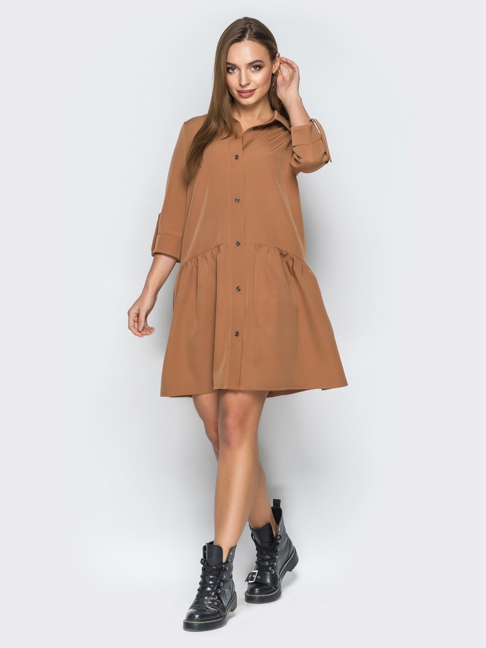 e9f15ff67ed 🌙Горчичное платье-рубашка с заниженной линией талии (на пуговицах ...
