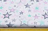 """Лоскут ткани """"Звёзды с напылением"""" розовые, мятные, серые № 1483, размер 25*80 см, фото 7"""