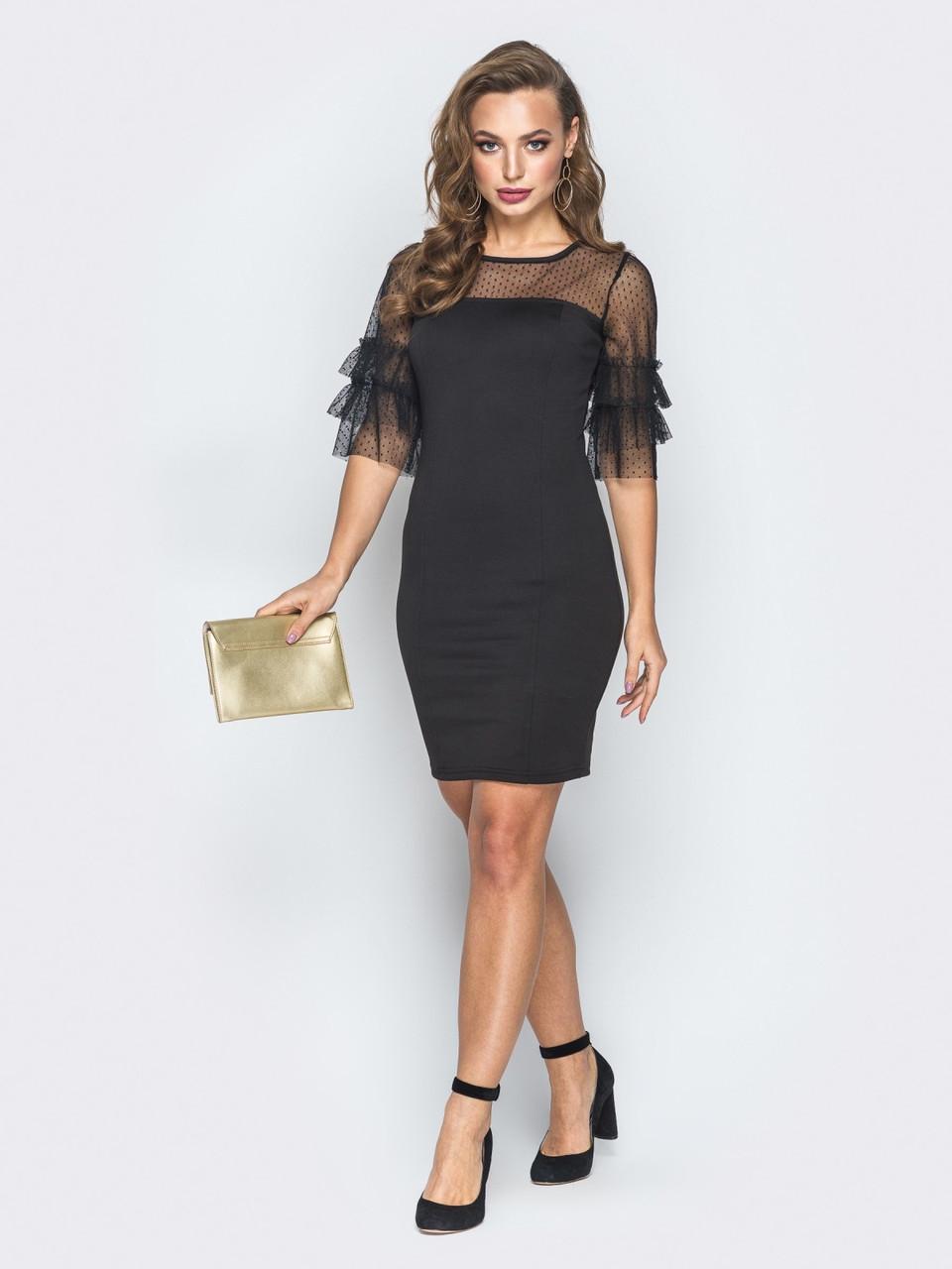 196d6da2460 🌙Коктейльное платье-футляр с прозрачной сеткой в горошек(коктейльное