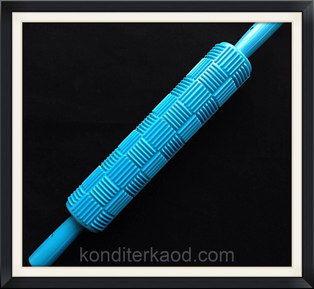 Скалка текстурная с ручками Квадраты