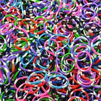 Резинки Loom Bands, микс цветов с белыми крапинками 200 шт.