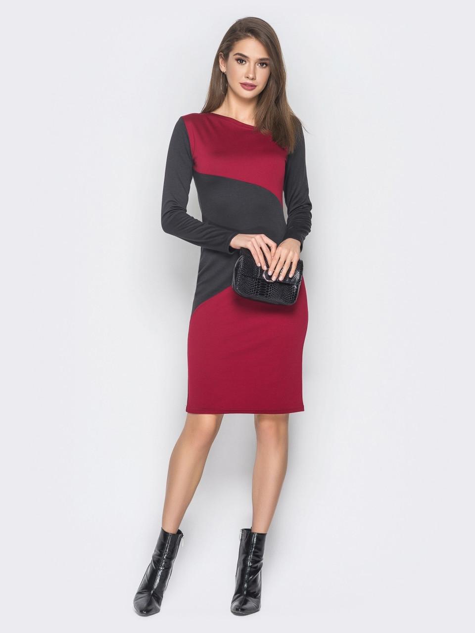 e9d95170316 🌙Облегающее трикотажное платье с оригинальными вставками (бордовое ...