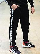 Мужские утепленные спортивные штаны с лампасами в стиле Adidas Black/White