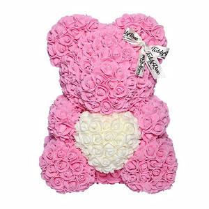 """Оригинальный подарок """"Мишка из Роз"""" 40 см розовый"""