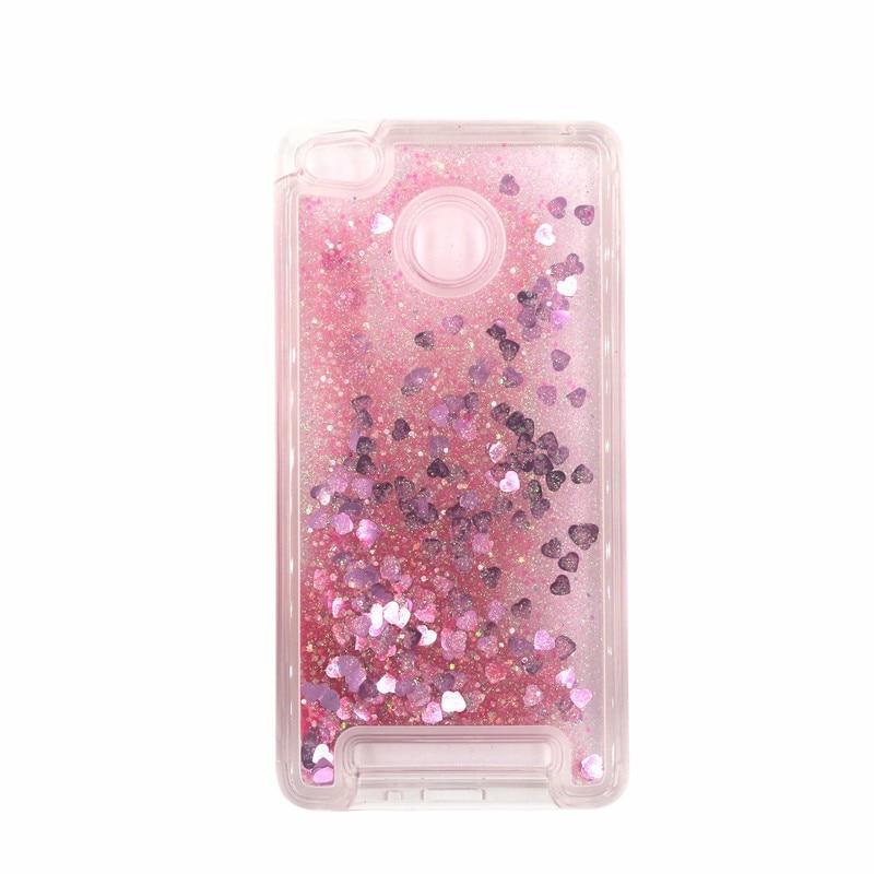 Чехол Glitter для Xiaomi Redmi 3s / 3 Pro Бампер Жидкий блеск сердце розовый