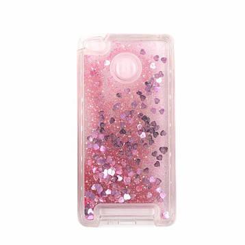 Чехол Glitter для Xiaomi Redmi 3s / 3 Pro Бампер Жидкий блеск сердце розовый, фото 2