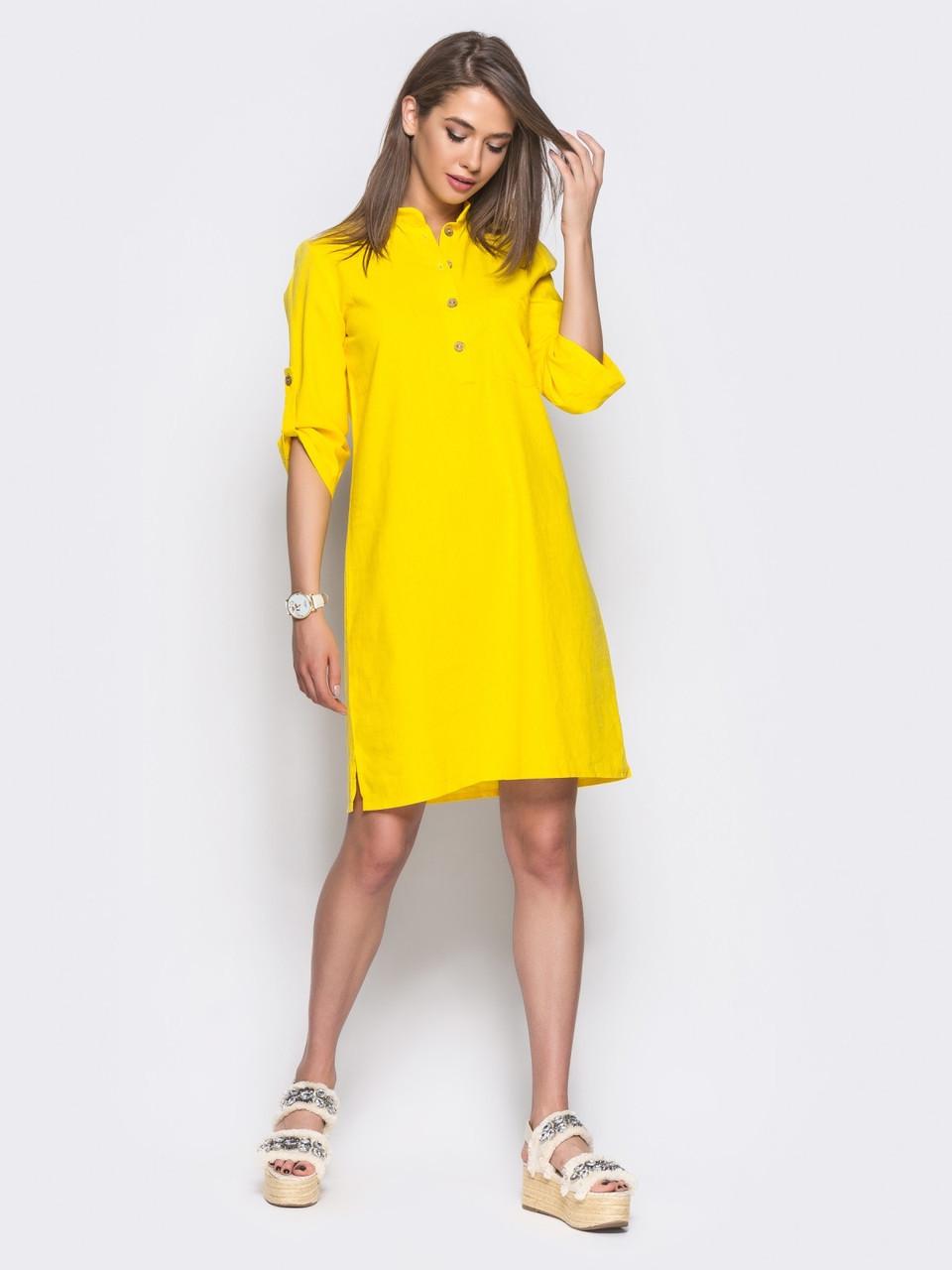 58dd59070808 🌙Льняное платье прямого кроя желтое (воротник стойка, шлевки) / 44 ...