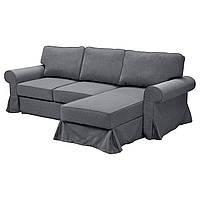 EVERTSBERG Sofa narożna z pojemnikiem, Nordvalla ciemnoszary