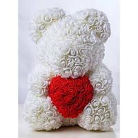 """Подарочный медведь """"Teddy Bear"""" из роз 40 см белый"""