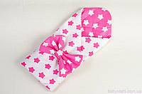 """Конверт одеяло на выписку весна/осень, 80х85 см, """"Розовые звезды"""""""