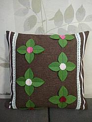 Наволочка коричнева з декором із фетру, на молнії , для декоративної подушки 35*35
