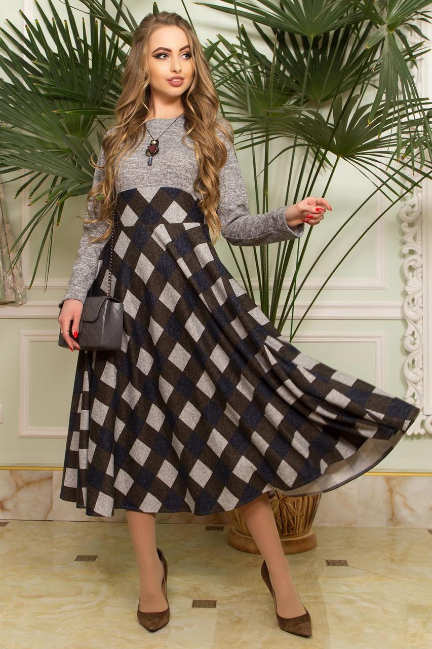 Оригинальное платье миди приталенное юбка клеш клетка длинный рукав серое и хаки